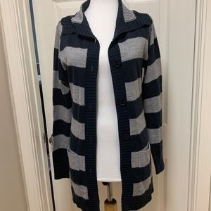 Zara Basic Cardigan | Navy & Grey Striped, M